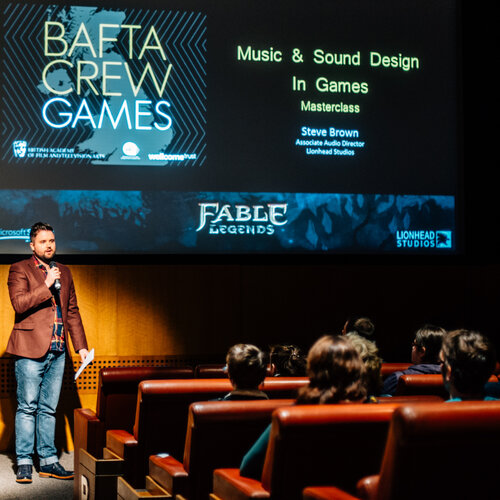 Event: BAFTA Crew Masterclass on Music and Sound Design in GamesDate: Saturday 24 January 2015Venue: Grosvenor Cinema, Glasgow