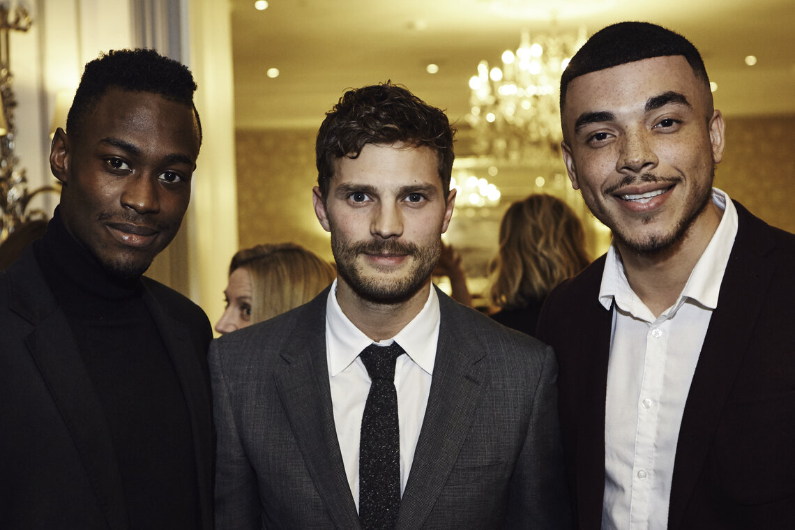 Uk scholarship programme bafta bafta scholars jason harris and jurell carter with jamie dornan stopboris Choice Image
