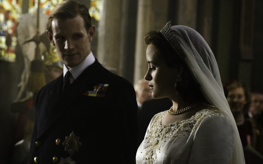 Claire Foy playing Queen Elizabeth II in The Crown with Matt Smith who plays Prince Phillip