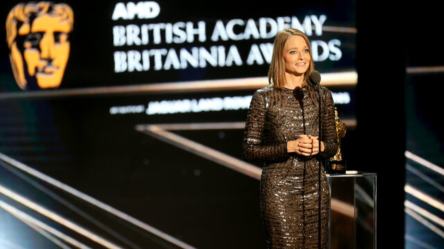 Jodie Foster on stage at the 2016 Britannia Awards