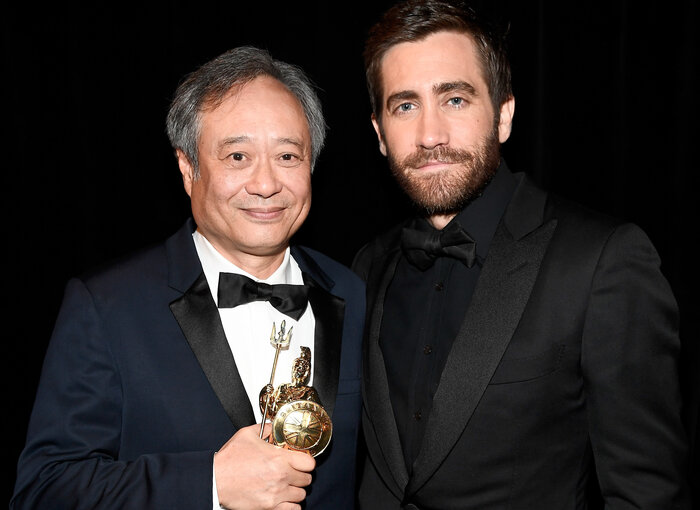 With Jake Gyllenhaal, who presented him with the award