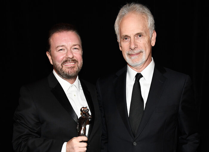 With Christopher Guest, who presented him with the award