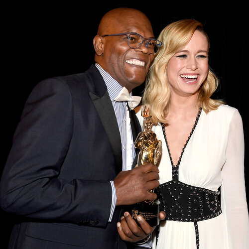 Samuel L. Jackson and Brie Larson backstage at the 2016 Britannia AWards