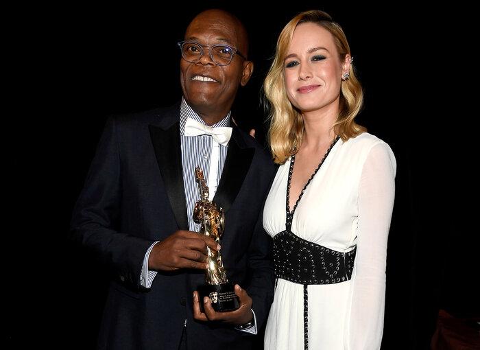 Samuel L. Jackson with Brie Larson